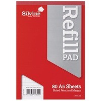 Image for Silvine Refill Pad Headbound Perforated Punched Feint Ruled Margin 160pp 75gsm A5 Ref A5RPFM [Pack 6]