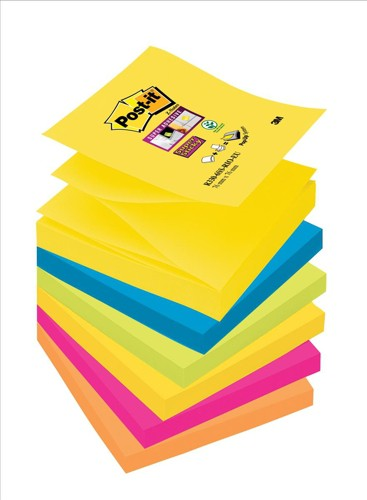 Post-it SuperSticky Z Notes Rio Colours 76 x76mm x 6 pads Assorted