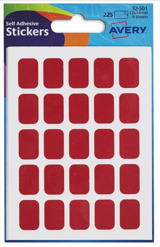 Avery Rectangle Labels 12x18 Red 32-501