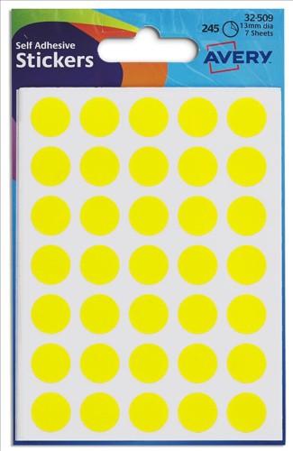 Avery Circle Labels 13mm Yellow 32-509