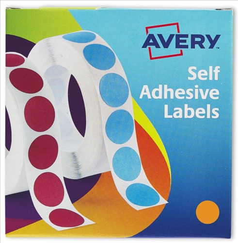 Avery Coloured Labels in Dispensers Orange 1120 Labels Size 19mm Diameter 24-608