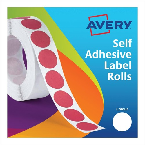 Avery Circle Labels 13mm Disp Red 24-614