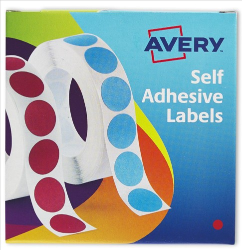Avery Circle Labels 8mm Disp Red 24-615