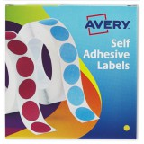 Avery Circle Labels 8mm Disp Yell 24-617