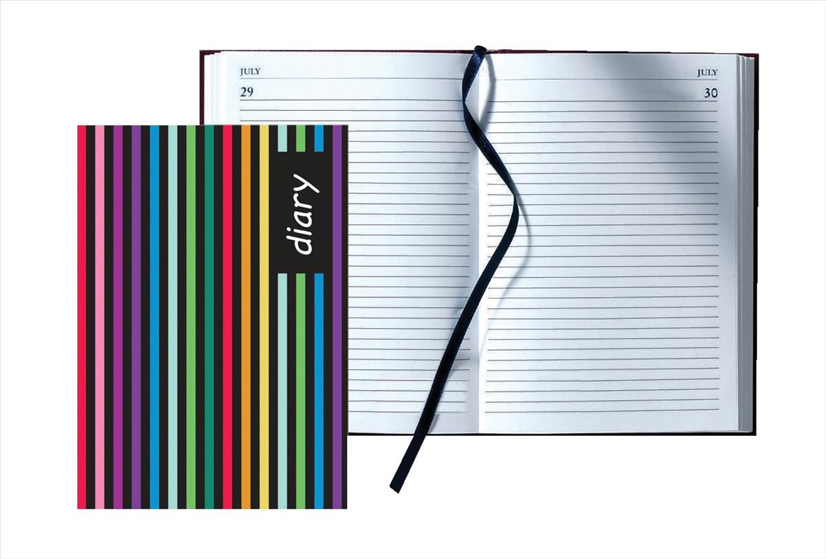 Collins A5 Day A Page Any Year Diary Stripes Design 56S