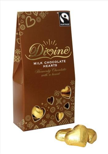 Divine Milk Chocolate Hearts Fairtrade