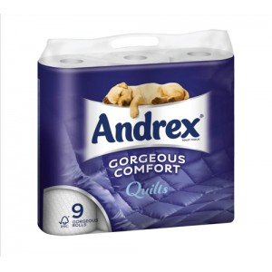 Andrex Toilet Rolls 3-Ply Quilted White Pack 9
