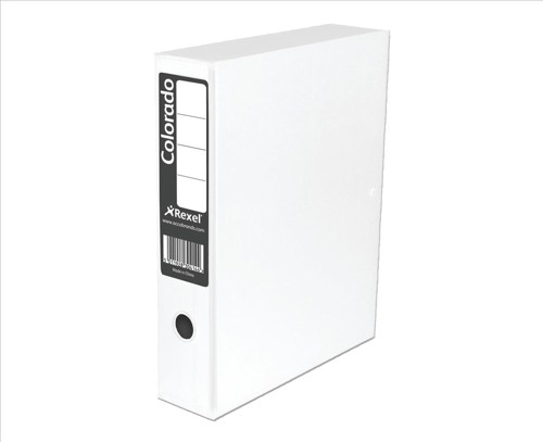 Rexel Colorado Box File with Lock Spring 70mm Spine A4 White