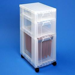 Really Useful Storage Tower Polypropylene 3 Drawers Clear/Assorted