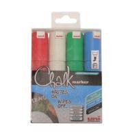 uni Chalk Marker Broad Chisel Tip PWE-8K Assorted Pack 4