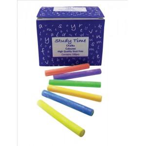 Study Time Coloured Chalks Pk100 EDU212