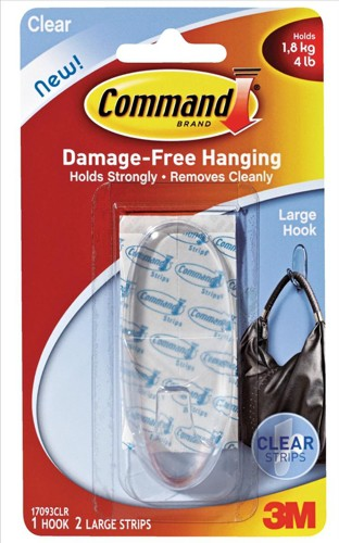 3M Command Adhesive Large Oval Hook Clear