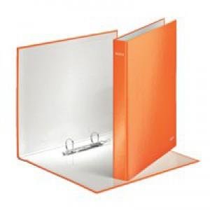 Leitz WOW Ring Binder A4 Maxi 2 D-Ring Size 25mm for 250 Sheets Orange Metallic