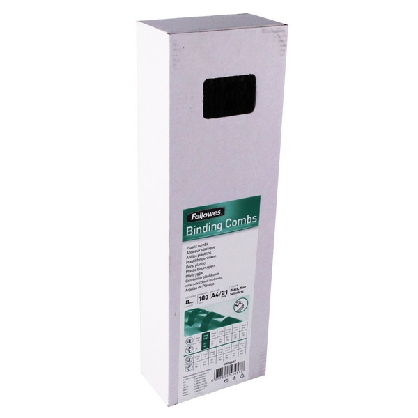 Fellowes Binding Combs 8mm Black Box 100 Code 53457