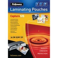Fellowes Glossy Laminating Pouches 125 microns A5 Box 100 Code 53073