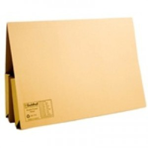 Guildhall Legal Wallet Double Pocket Manilla 315gsm 2x35mm Foolscap Yellow Ref 214 [Pack 25]