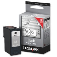 Lexmark Inkjet Cartridge High Yield Page Life 475pp Black Ref 18C0034E