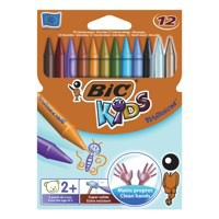 Image for Bic Kids Plastidecor Crayons Colour Hard Long-lasting Sharpenable Vivid Assorted Ref 829770 [Pack 12]