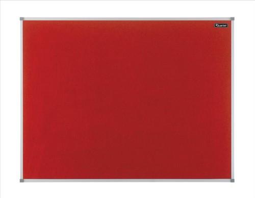 Quartet Felt Notice Board Aluminium Trim 900x600mm Red