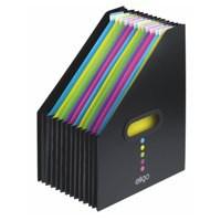 Eligo Desk Organiser Expanding Polypropylene + Colour-Coded Tabs 13-Part Portrait Black Code 15171