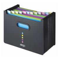Eligo Desk Organiser Expanding Polypropylene With Colour-Coded Tabs 13-Part Landscape Black 15174