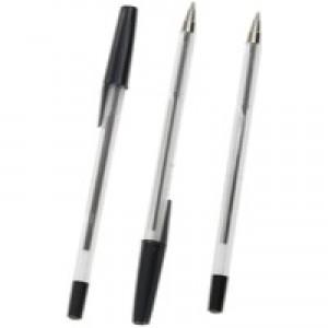 Q-Connect Med Black Ballpoint Pen Pk50