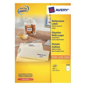 Avery White Copier Labels 1 per Sheet A4 210x297mm White Ref 3478 [100 Labels]