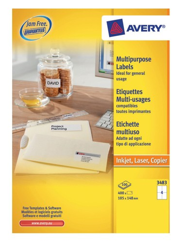 Avery White Copier Labels 4 per Sheet 105x148mm White Ref 3483 [400 Labels]