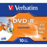 Verbatim DVD-R 16X Wide Inkjet Printable ID Pack of 10 43521