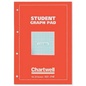 Silvine Student Graph Pad 1:5:10mm 50 Sheets A4
