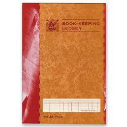 Rhino Book Keeping Book Ledger Ruled A4 Red (12) BKL