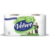 Triple Velvet Toilet Rolls White Ref VSCADVW12 [Pack 9]