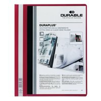 Durable Duraplus Quotation Filing Folder PVC with Clear Title Pocket A4 Red Ref 2579/03 [Pack 25]