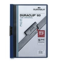 Durable Duraclip Folder PVC Clear Front 6mm Spine for 60 Sheets A4 Dark Blue Ref 2209/28 [Pack 25]