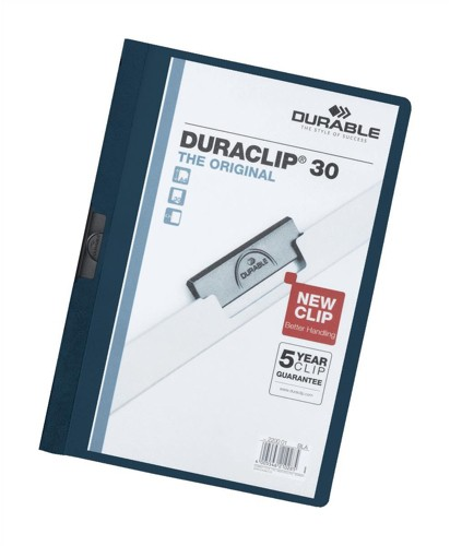 Durable Duraclip Folder PVC Clear Front 3mm Spine for 30 Sheets A4 Dark Blue Ref 2200/28 [Pack 25]