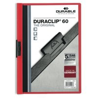 Durable Duraclip Folder PVC Clear Front 6mm Spine for 60 Sheets A4 Red Code 2209/03