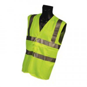 Dealer Workwear High Visibility Vest Polyester Medium Yellow Code DWHVYM