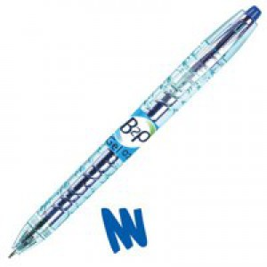 Pilot Begreen B2P Rollerball Pen Recycled Retractable 0.7mm Tip 0.39mm Line Blue Ref 054101003 [Pack 10]