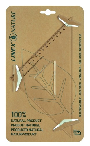 Linex Nature Set Square 45 Degree Metric Biodegradable Bevelled and Tracing Edges Clear Ref LXON4525TFM
