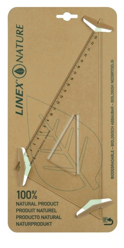 Linex Nature Set Square 60 Degree Metric Biodegradable Bevelled and Tracing Edges Clear Ref LXON6025TFM