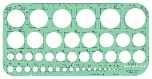 Linex Circle Template With Tangential Squares Protractor And 45 1mm-36mm Circles 260x130mm LXG1217T
