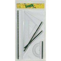 Linex School Set Four Piece Set Squares 45 Degree 60 Degree Protractor 100mm Ruler 300mm Ref LXOMS200