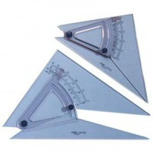 Linex Set Square Adjustable Precision 0.5 Degree Scale Bevelled Edge Long 250mm Clear Ref LXB1120/10B