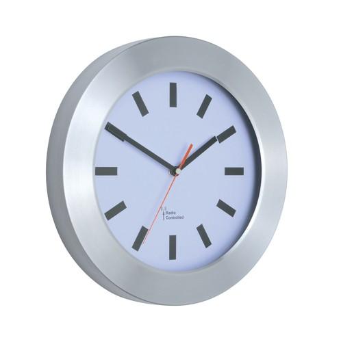 Wall Clock Brushed Aluminium Case Diameter 300mm