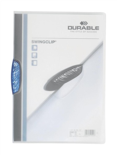 Durable Swingclip Crystal Folder Polypropylene Capacity 30 Sheets A4 Blue Ref 2260/06 [Box 25]