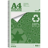 Silvine Everyday Notebook Recycled Wirebound Punched Ruled 104pp 70gsm A4 Ref TWRE80 [Pack 12]