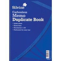 Silvine Carbonless Duplicate Memo Book Blue 714