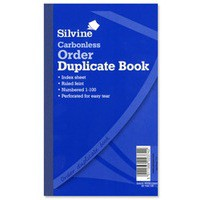 Silvine Carbonless Duplicate Order Book Blue 710