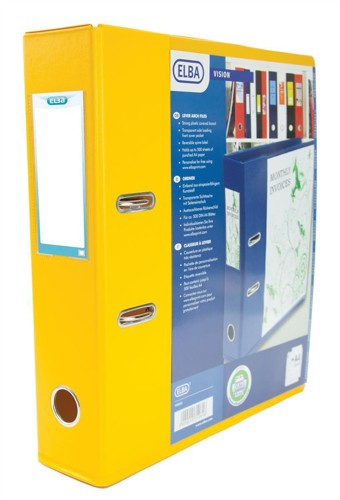 Elba Lever Arch File with Clear PVC Cover 70mm Spine A4 Yellow Ref 100080893 [Pack 10]