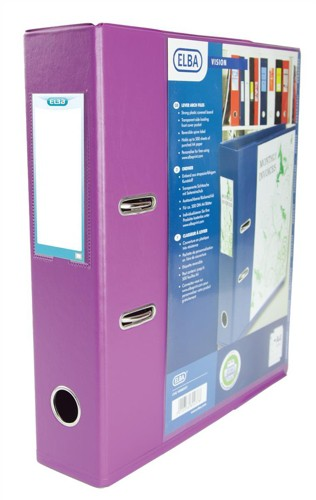Elba Lever Arch File with Clear PVC Cover 70mm Spine A4 Purple Ref 100082437 [Pack 10]